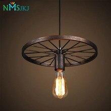 Промышленный стиль подвесной светильник с черным железным колесом-как старинная лампа для потолка для внутренних декоров