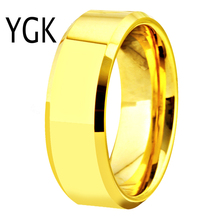 Free Shipping USA UK Canada Russia Brazil Hot Sales 8MM Polish Gold Bevel Comfort Fit Men's Lord Fashion Tungsten Wedding Rings
