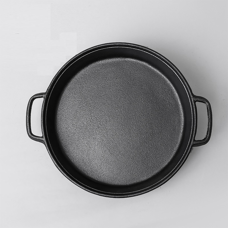High quality 30CM Flat bottom cast iron frying pan old fashioned manual no coating pan