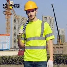 1bdf480942 Malha reflexivo camisas de trabalho dos homens de segurança amarelo camisas  frete grátis