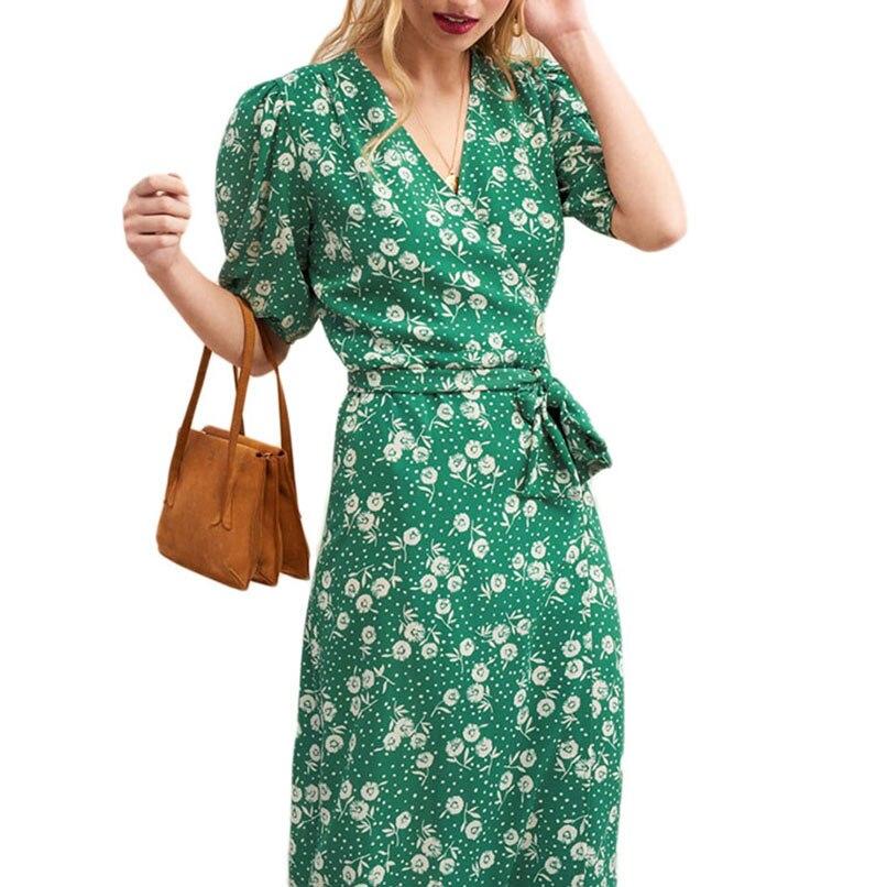 2019 été femmes v-cou manches bouffantes Floral Midi Wrap robes dames une pièce Pin Up robes avec boutons Robe Femme Ete