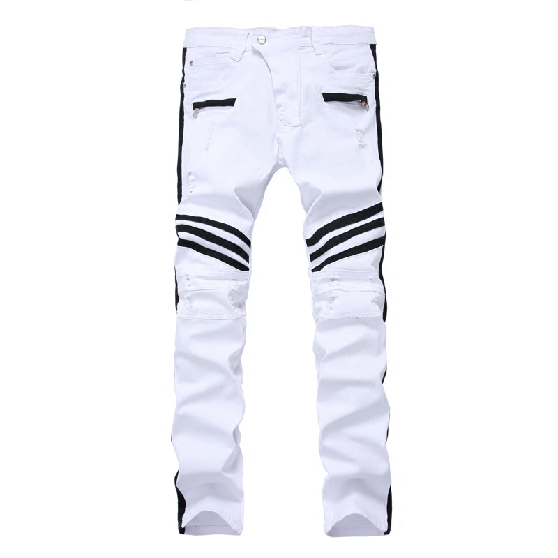 Men's Casual White Stitching Elastic Jeans Small Code 28 Youth Holes Slim Small Pockets of Large Trend of Large Size 40 Jeans men contrast stitching elastic foot jeans