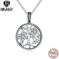 VOROCO Classic 925 Sterling Silver Tree Of Life Pendant Necklaces For Women Women Fashion Jewelry Collares