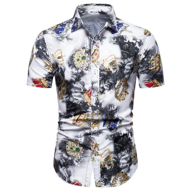 Hawaiian Shirt Mens Clothing Beach style Fashion print Short sleeve Men Summer Blouse New