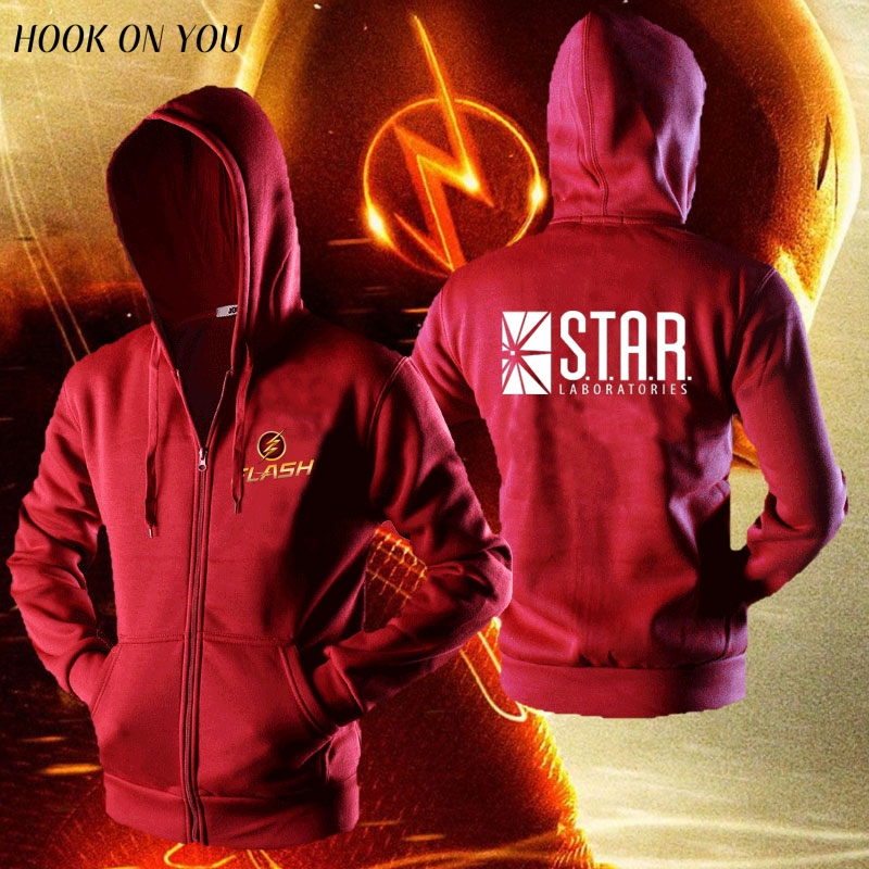 The Flash star laboratories men sweatshirt team game hoodies men comfortable cotton casual jacket zipper cardigan