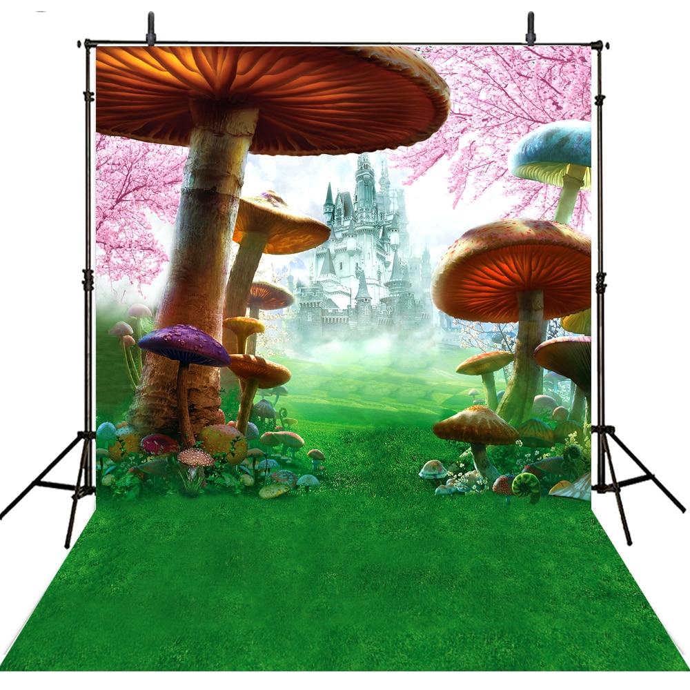 Hot Mushroom Photography Backdrop Kids Vinyl Backdrop For Photography Photocall Alice In Wonderland Background For Photo Studio vinyl wonderland photography backdrop