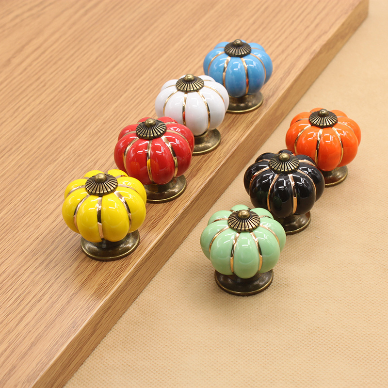 Colorful pumpkin handle Ceramic Door Knobs Cabinet Drawer Cupboard for home decoration hardware tools 2pcs set stainless steel 90 degree self closing cabinet closet door hinges home roomfurniture hardware accessories supply