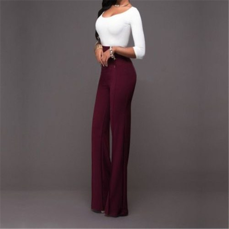 d08029c7c7f Women High Waist Palazzo Pants Wide Leg Flared Trousers Lady Long Pant Plus  Size fashion summer comfortable black and white -in Pants   Capris from  Women s ...