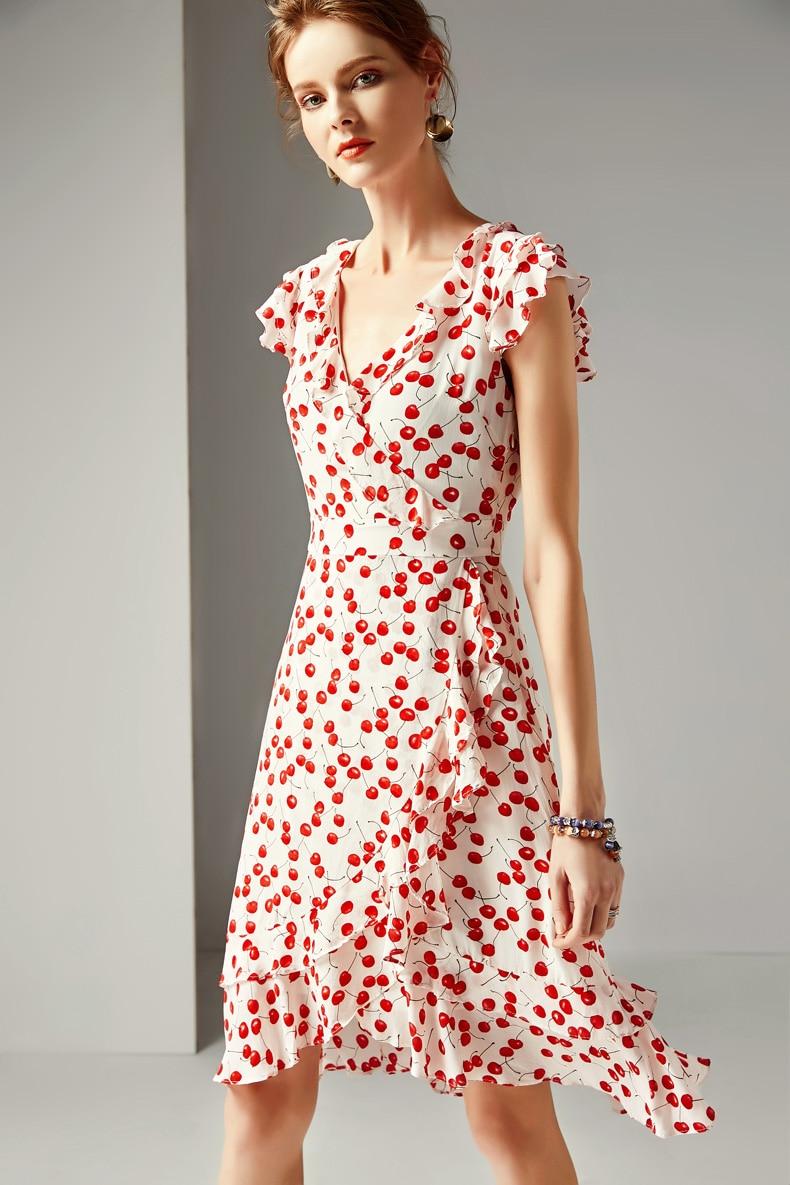 Señora Milan 2019 mujeres 100 vestidos de pasarela de seda cuello en V mangas cortas volantes impresos Floral vestidos de moda-in Vestidos from Ropa de mujer    3