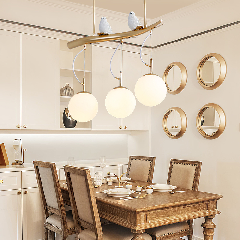 Nordic dining room lights led lamp post-modern minimalist bird personality creative bar glass restaurant pendant lights LU808115 nordic american modern minimalist creative led pendant lights living room dining glass three head pastoral bird pendant lamps