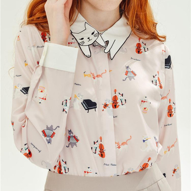 2016 Fashion Cute Neko Atsume Cat Embroidery Collar Women Blouse Mori Girls Shirt Peplum Tops ...