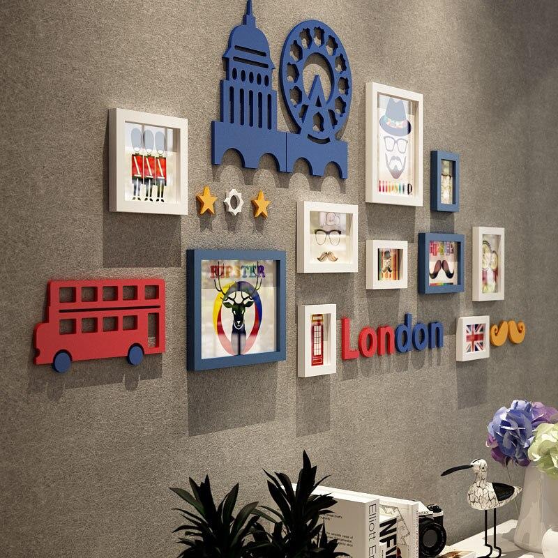Lanskaya London Auto Augen Massivholzbilderrahmen Wand Kombination ...