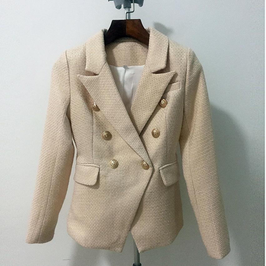 HIGH QUALITY New Fashion 2018 Designer Blazer Women's Metal Lion Buttons Double Breasted Gold Painting Blazer Jacket