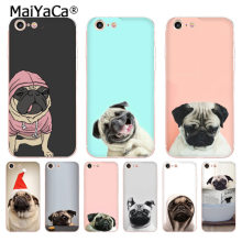MaiYaCa Animal Bonito Cão Pug Moda de Luxo Caixa Do Telefone para o iPhone Da Apple 8 7 6 6 s Plus X 5 5S SE XR XS XS MÁXIMA Cobertura(China)