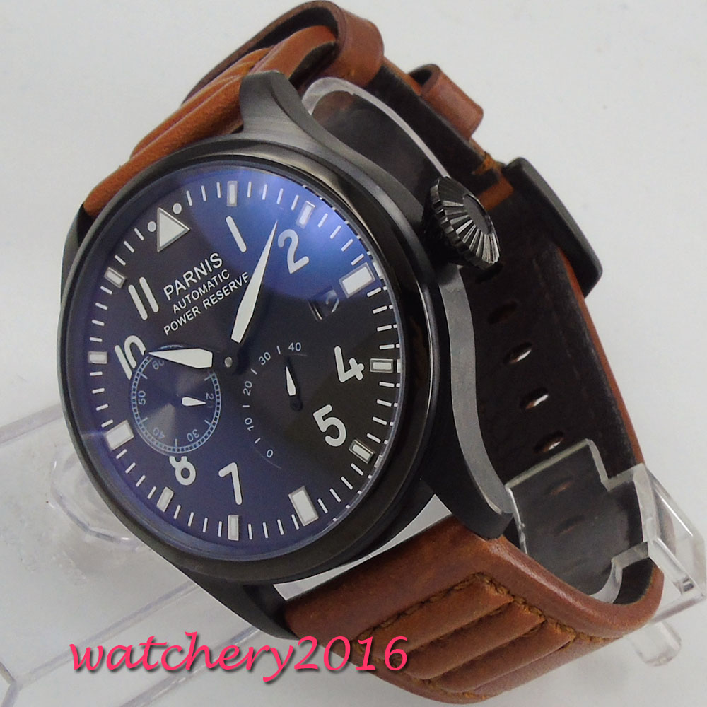 47mm Parnis Black Dial Automatic Watch Power Reserve Men Military Big Face SeaGull 2530 Automatic Movement Wrist Watch fashion parnis mechanial 50mm big face black dial automatic men s watch