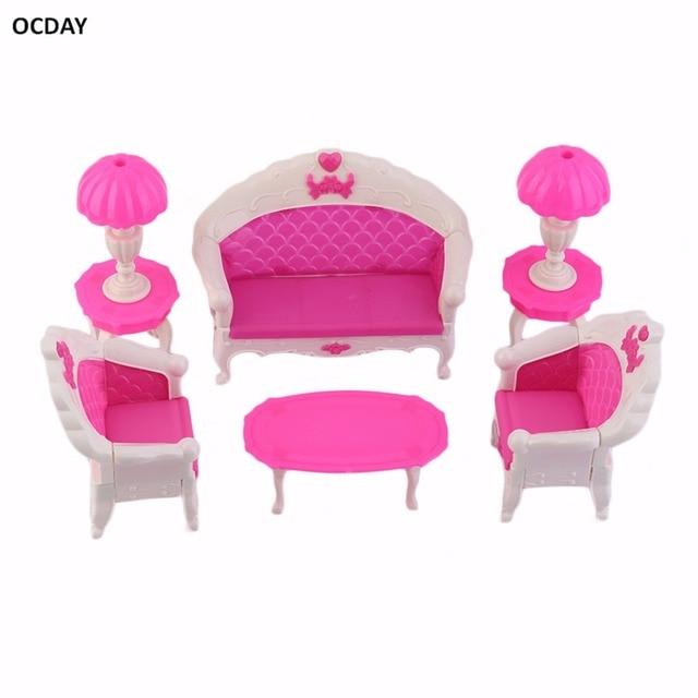 6Pcs Cartoon Princess Kids Toys Dreamhouse Doll Vintage Sofa Lovely Chair  Couch Desk Lamp Furniture Set