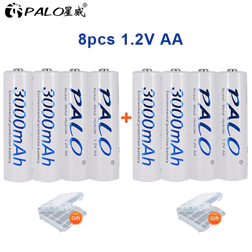 Bateria recarregável aa nimh 1.2 v 3000 mah ni-mh 2a da bateria recarregável de palo aa do cartão 8 pces/2 baterias recarregáveis da bateria para a câmera