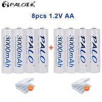 8 sztuk/2 karty PALO akumulator AA AA NiMH 1.2V 3000mAh Ni-MH 2A wstępnie naładowany akumulator akumulatory do aparatu