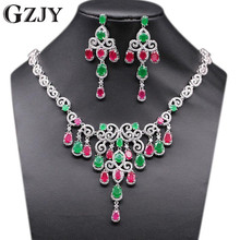GZJY Gorgeous Beautiful Bride Jewelry Sets Gold Color Necklace Earring Set For Women Wedding Anniversary Gift 2colors