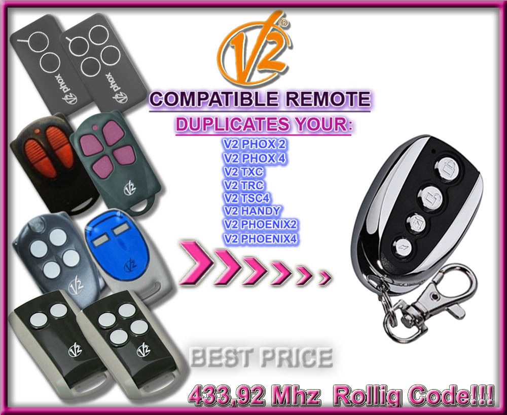 V2 Phoenix 2, Phoenix 4, Keyfob,Remote Control Transmitter Replacement 433,92Mhz Rolling Code Remote Duplicator Replacement
