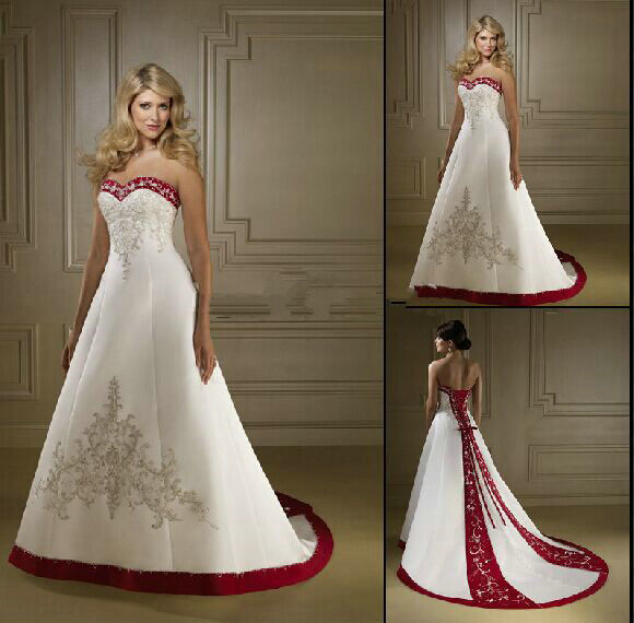 White And Red Wedding Gowns: Sweetheart Embroidery Satin A Line Wedding Dress 2015