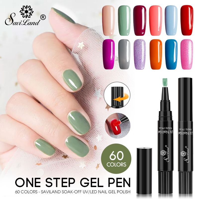 1bbb41c615a Saviland Newest 3 In 1 Gel Nail Varnish Pen Glitter 60 Colors One Step Nail  Gel Polish Hybrid Easy To Use UV Nail Gel Pen-in Nail Gel from Beauty    Health ...