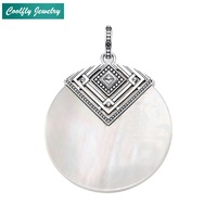 Ethnic Mother of Pearl Ornament Pendants For Women Girl 2019 Vintage 925 Sterling Silver Glam Gift Fashion Jewelry Fit Necklaces