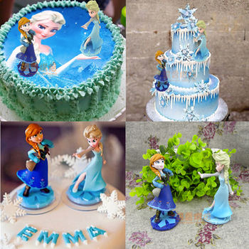 Gril Birthday 5pcs Princesses Toys Cake Topper Froze Elsa Anna Pvc Action Figure Doll Kids Gift