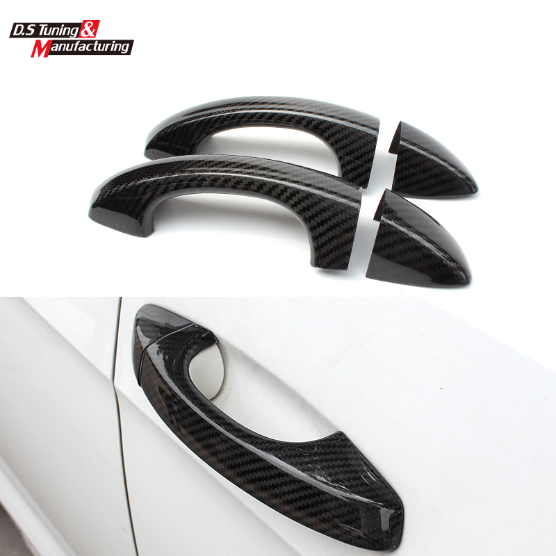 Carbon fiber side door handle cover trimming for for Front door handle 7 5 inches