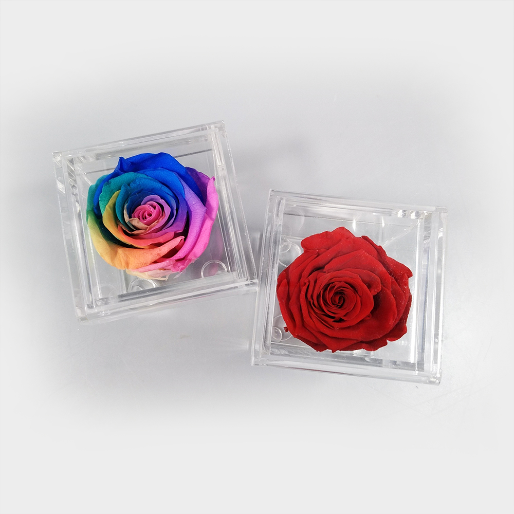 Acrylic Flower Box One Frame Rose Small Boxes Valentine 39 s Day Present Surprise Romantic Dating Small Surprise Gift in Storage Boxes amp Bins from Home amp Garden
