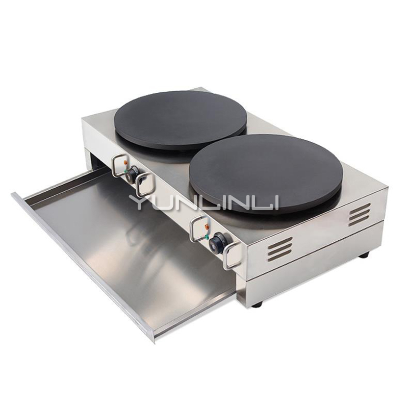 Commercial Electric Crepe Maker Electric Pancake Making Machine Double-burner Electric Crepe Making Furnace NP-584 free shipping crepe making machine electric crepe maker machine snack machine mini electric hot plate crepe pancake maker
