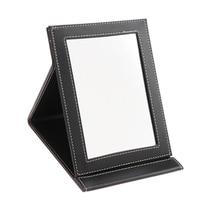 Настольное косметическое зеркало, компактное портативное туристическое зеркало, складное зеркало из искусственной кожи