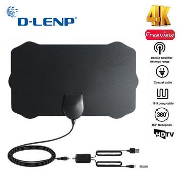 Dlenp DVB-T antena Freeview 25DB wzmocnienie cyfrowa antena HDTV ze wzmacniaczem wzmacniacz sygnału DVB-T2 antena telewizyjna 120 mil tanie i dobre opinie Indoor 174-230 MHz 470-862MHz b-TV308b hm-dz-x020 25DB 174-230 MHz 470-862MHz vertical polarization indoor antenna