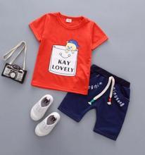 2019 Summer Baby Set Kids Boys Girls Clothes Children Imitation Jeans+Short Sleeve T-shirt 2Pcs Tracksuits QHX024