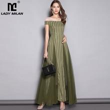 Lady Milan 2019 Womens V Neck Short Sleeves Sequined Striped Party prom Elegant Long Designer Runway Dresses