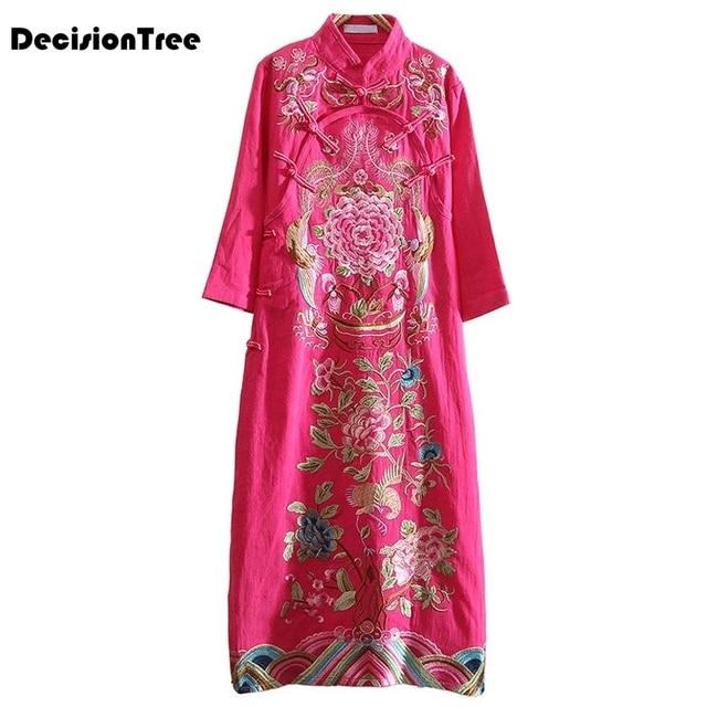 2019 summer traditional chinese women cheongsam dress half sleeve embroidered qipao tunic elegant oriental long qipao dresses