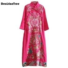 2019 traditional chinese women cheongsam dress half sleeve embroidered qipao tunic elegant oriental long dresses