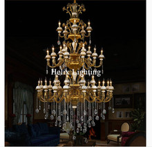 2017 New Arrival Chandelier D1500mm Hotel Project Villa Chandelier Lamp 44 Lights Luxury Crystal Chandelier LED AC Lighting