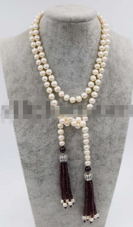 red garnet round faceted freshwater white pearl necklace 52 wholesale beads