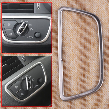 CITALL Stainless Steel Car Interior Head Fog Light Lamp Control Button Trim Cover for Audi A4 (B9) A5 F5 Q5 FY 2018 Styling image