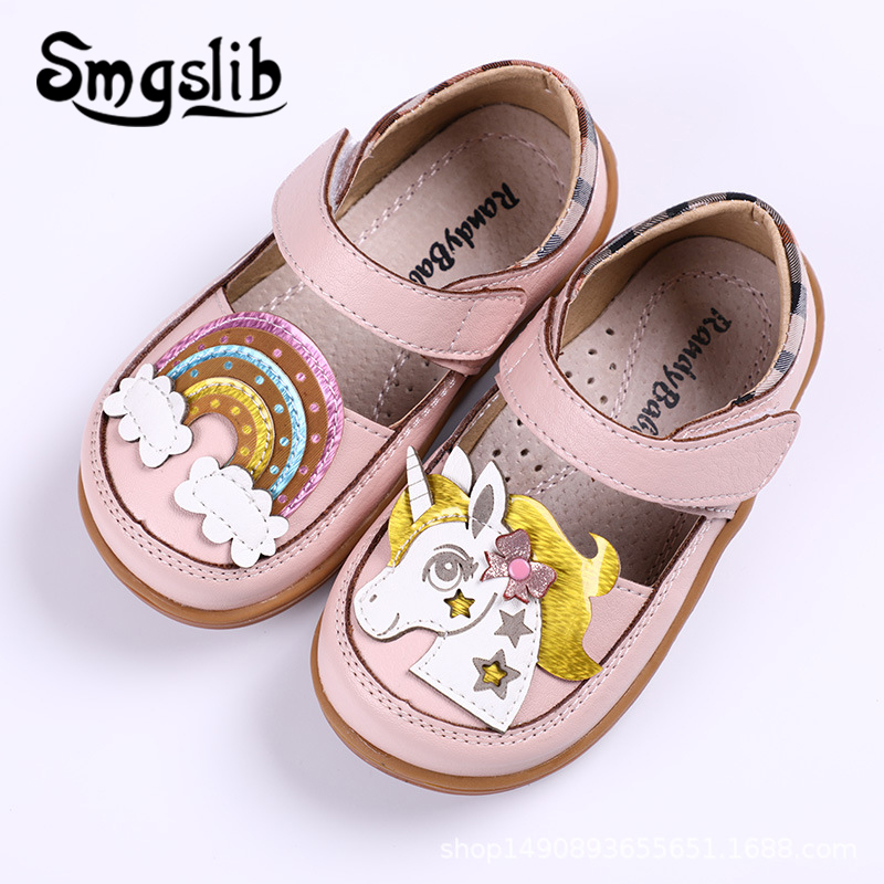 Girls Shoes Children Princess Party Toddler Unicorn Girls Genuine Leather Insole Mary Jane Kids Dance Pink Casual Shoes 2020
