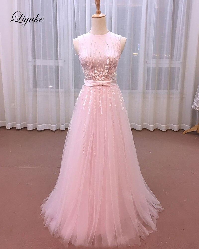 Liyuke incroyable perles perles o-cou robe de soirée avec des ceintures inclinées sans manches étage-longueur élégante longue robe formelle