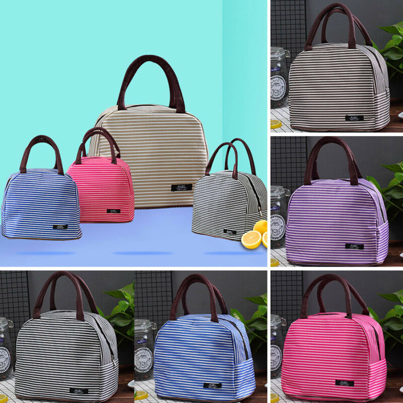 New 2019 Portable Insulated Thermal Cooler Lunch Bag Striped Fashion Box Carry Tote Shopping Picnic Case Picnic Storage Bag