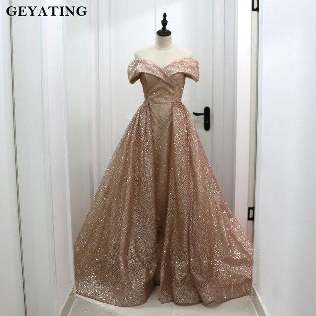 Rose Gold Sequins Dubai Evening Dress With Detachable Train 2018