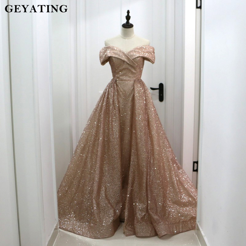 Rose Gold Sequins Dubai   Evening     Dress   with Detachable Train 2019 Elegant Off Shoulder Sparkly Arabic Overskirt Prom   Dresses   Long