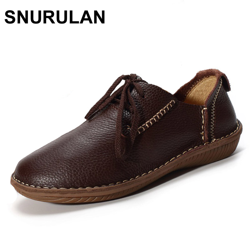 SNURULAN Women Shoes Flat Genuine Leather hand made Ladies Flat Shoes Black Brown Coffee Casual Lace