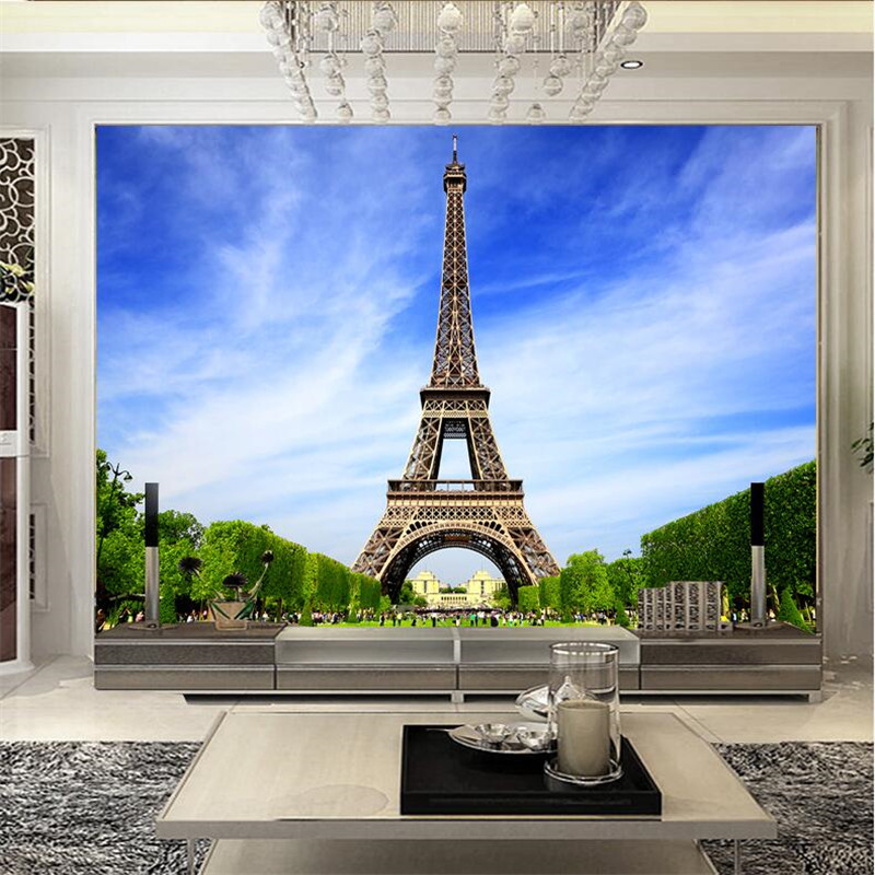 Mural Wallpaper for Living Room Paris Tower Romantic France Wall Paper Bedroom Background Sofa Modern Art Painting Home Decor