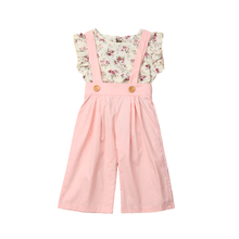 Toddler Baby Kids Girl Floral Clothes Sets Summer Girls Outfit Clothing Shirt Tops+Long Bib Pants 2PCS Set 0-5T 2019 autumn winter costume for kids newborn baby girl clothes toddler shirt bib pants overalls 2pcs outfit kids girls clothing set
