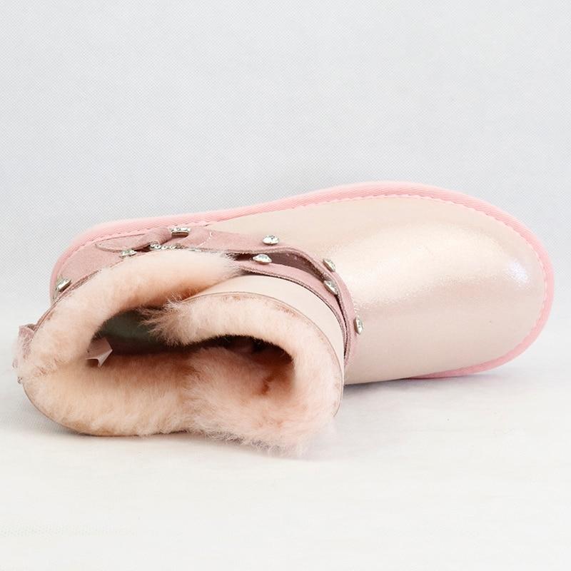 新しい本物の羊の革雪のブーツ女性のための 100% 天然の毛皮本物のウールインサイド女性の冬暖かいブーツファッション足首ブーツ  グループ上の 靴 からの アンクルブーツ の中 3
