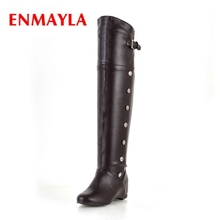 ENMAYLA 2018 New Fashion rivet women round toe  Height increasing over-the-knee buckle boots Big size 34-43 ZYL399